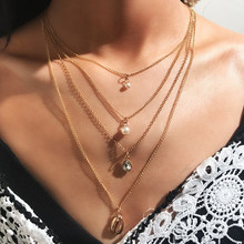 New multi-layer women's necklace fashion shell crystal imitation pearl pendant women's necklace bohemian fashion party jewelry fashion multi layer ladies necklace imitation pearl crystal five pointed star luxury pendant necklace jewelry clavicle chain new