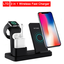 10W Qi Wireless Charger 3 in 1 Fast Charging for Apple Watch 1 2 3 4 Charge Dock Station for iPhone 8 XR XS Max AirPods Samsung 3 in 1 qi wireless charger pad for apple watch 2 3 4 airpods fast charging dock station for iphone xr xs max x 8 samsung s10 s9