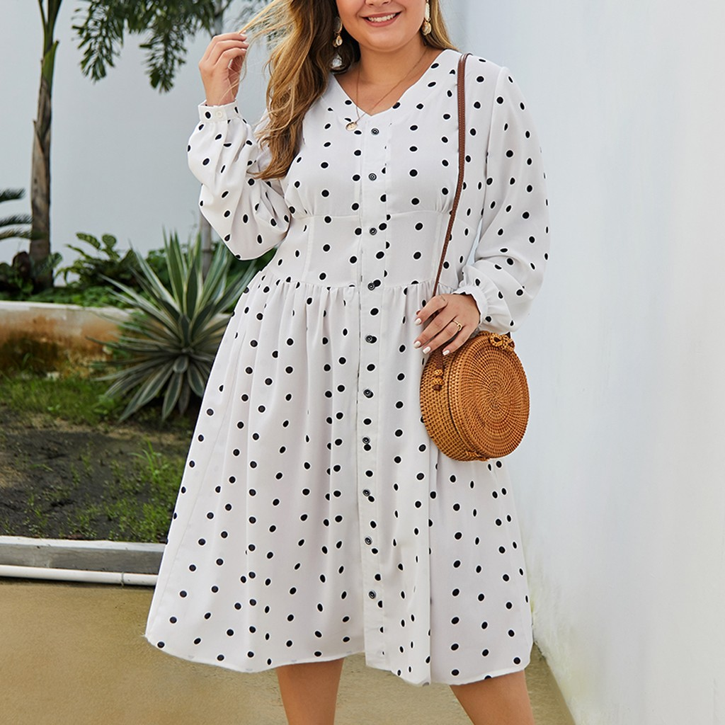 Fashion Women Plus Size Sexy V-Neck Buttons Flowers Print Short Sleeve Dress Sexy V-Neck Long Sleeve Mini Chiffon Dress *