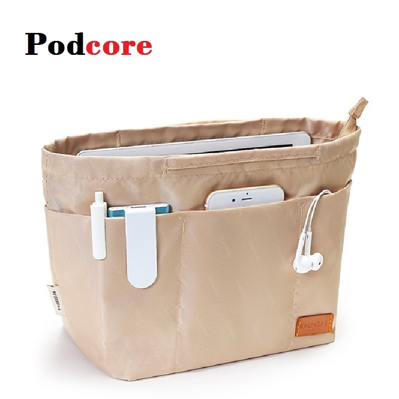 High Quality Makeup Organizer Bag Nylon Travel Purse Organizer Insert Cosmetiqueras Fit Large Luxury Handbags