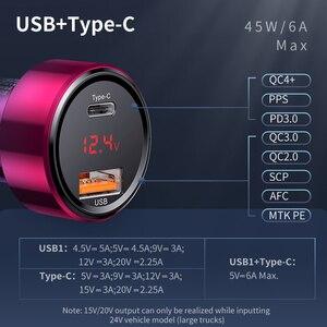 Image 3 - Baseus 45W szybkie ładowanie 4.0 3.0 ładowarka samochodowa USB dla Xiao mi mi Huawei Supercharge SCP QC4.0 QC3.0 szybka PD USB C ładowarka samochodowa