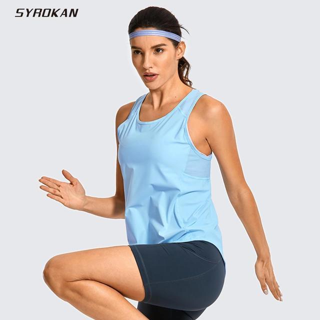 SYROKAN Women's Activewear Lightweight Mesh Workout Tank Top Running Sport Shirt 1