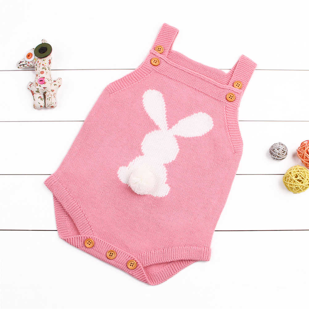 2019 New Cute Bunny Kids Baby Rompers Sleeveless Baby Girls Boy Knit Romper Vest Autumn Winter Warm Little Baby Costumes