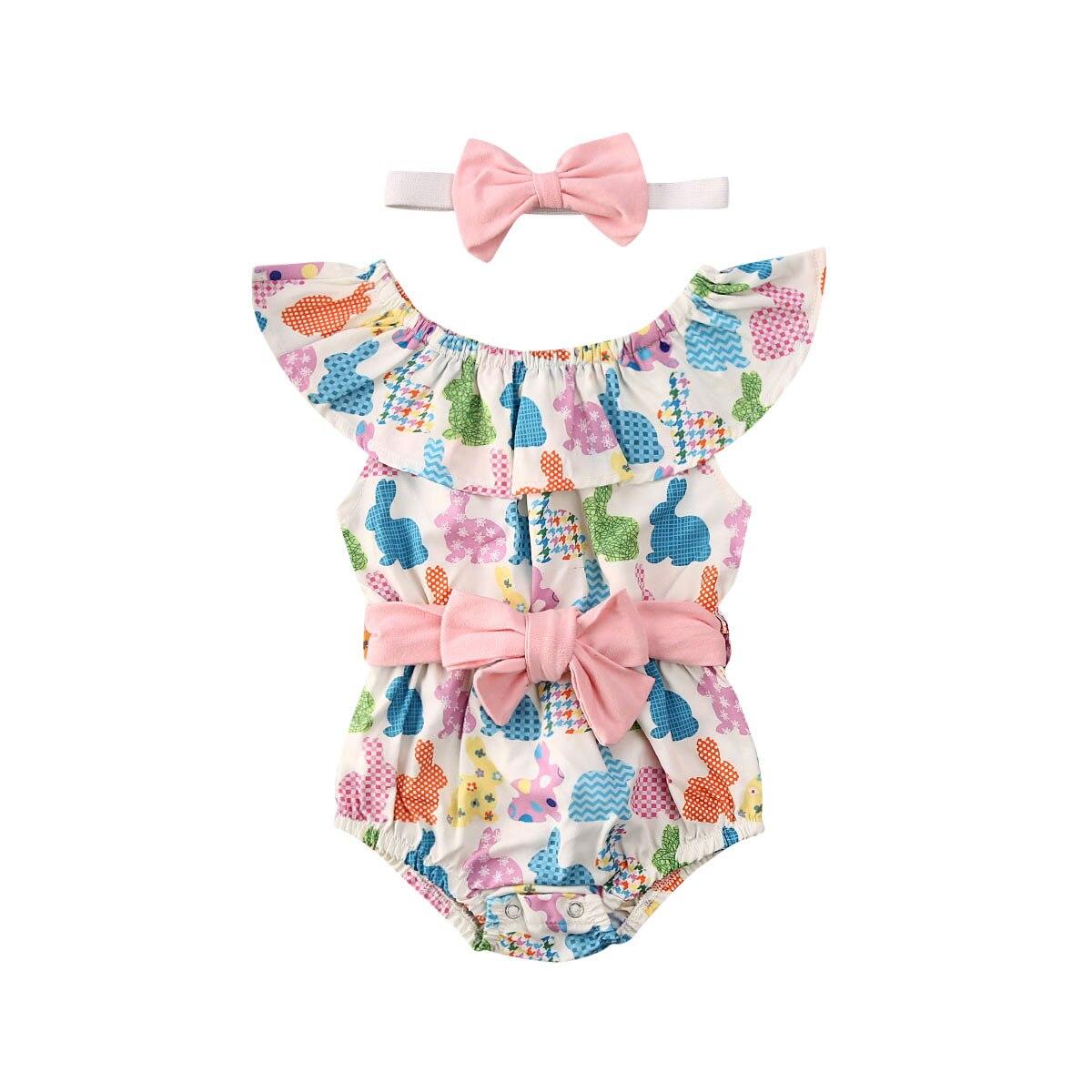 0-24M Easter Infant Kids Baby Girls Bodysuits Rabbit Print Ruffles Sleeve Elastic Waist Bowknot Cute Jumpsuits+Headband 2pcs