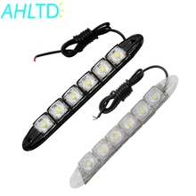 цена на 2Pcs Car Led DRL Daytime Running Light Flexible 6LED White Waterproof  Driving Fog Bulb Warning Lamp Car Styling DC 12V Auto Led