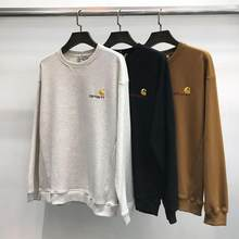 New Embroidered Pullover Men's Long Sleeve Loose Hooded Sweatshirt Crew Neck Top 2021 New