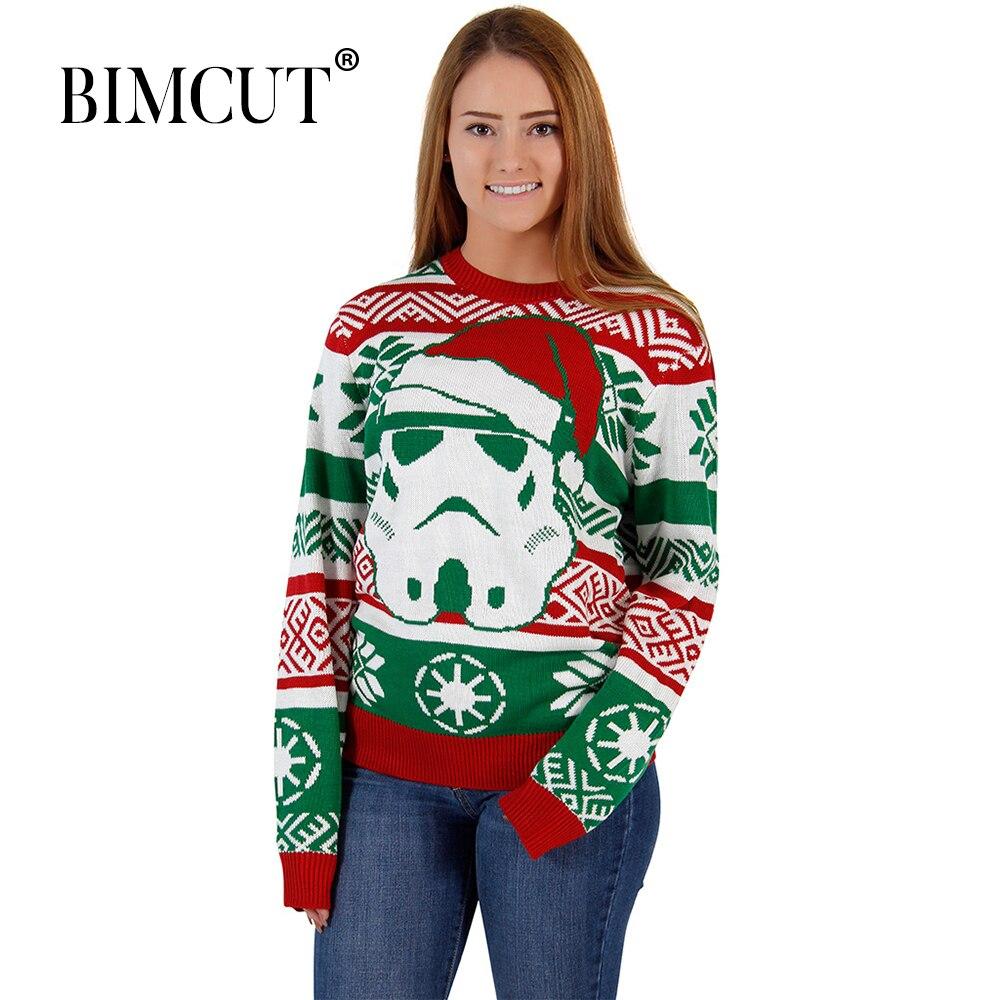 Women Christmas Sweater Women's Knitwear Snowman Long Sleeve Pullover Long Sleeve   O-Neck Christmas Tree Knitting Sweater Tops