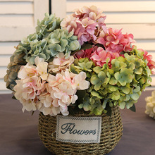 6 head/bouquet Hydrangea Artificial Silk Flowers Bridal hand Bouquet Fake flowers For Wedding Home Decoration flores artificial