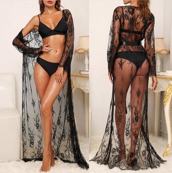 Women Long Sleeve Lace Dress Fashion Solid Sexy Perspective Pajamas Robe Sleepwear Underwear Lingerie Satin Silk Belt Slim 1