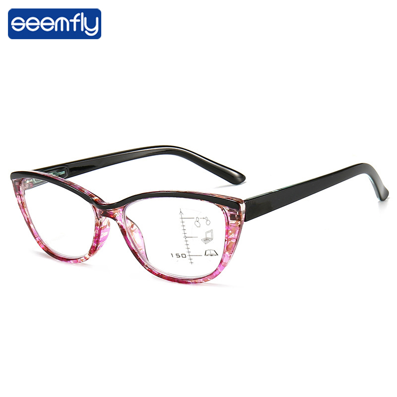 Seemfly Anti-blue Light Cat Eye Progressive Multifocal Reading Glasses Women Anti-fatigue Presbyopic Glasses With+1.0to+3.5