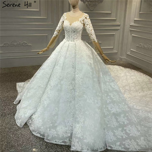 Image 3 - White Luxury Vintage O Neck Zipper Wedding Dresses 2020 Long Sleeves Beading Handmade Flowers Bride Gowns HA2314 Custom Made
