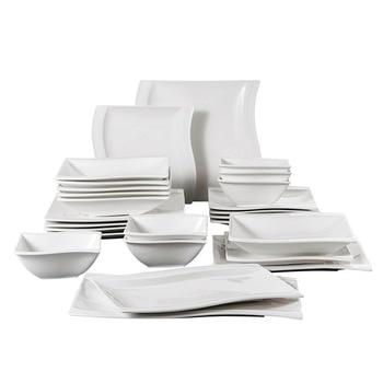 MALACASA Flora 26-Piece Porcelain Dinner Set with Bowls Dessert Soup Dinner Plates Rectangular Plates Set Service for 6 Person