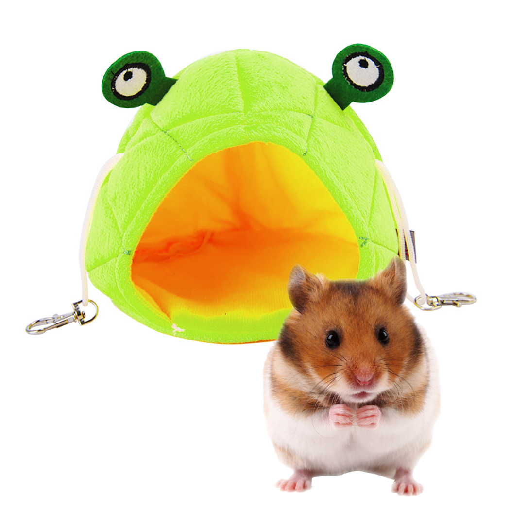 1pc Pet Cave Warm Pineapple Frog Shape Pet Bed Cotton Velvet Fabric Squirrel Bed Pet House For Small Animals Pet Supplies