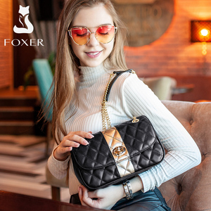 Image 2 - FOXER Women Chain Strap Messenger Bag Diamond Lattice Flap Lady High Quality Leather Ladies Shoulder Bags Valentines Day Gift