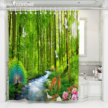 цена на Peacock Shower Curtain 3D Bathroom Shower Curtain Boho Curtains for Bath Shower Waterproof Fabric Natural Forest River Landscape