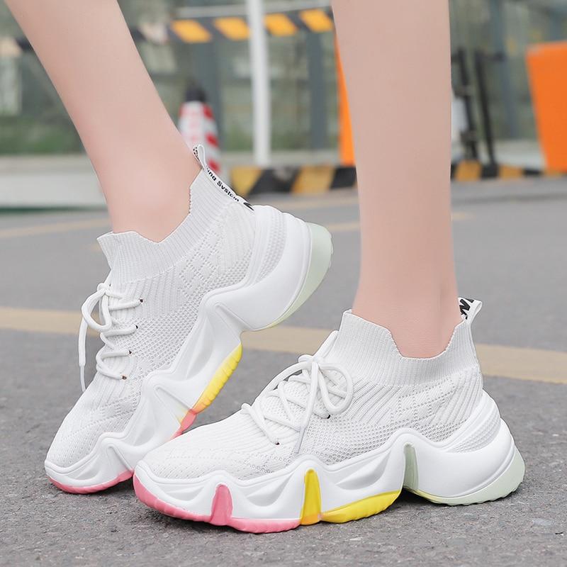 2020 Women Sock Sneakers PU Big Sole Running Shoes Colorful Rainbow Women Platform Walking Shos Soft Fashion Girl Shoes Weaving