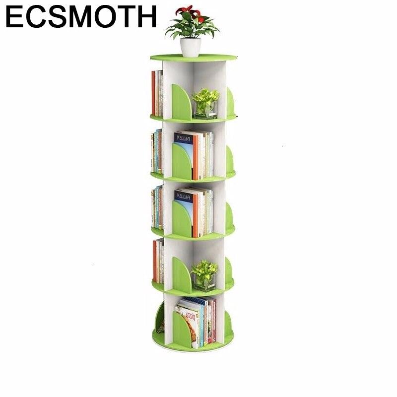 Libros Rangement Chambre Enfant Mueble De Madera Rotate Rotatable Rack Bookcase Home Furniture Librero Book Shelf Case