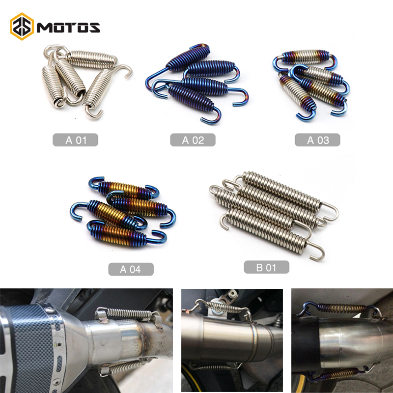 ZS MOTOS 2 pcs Colorful Universal Motorcycle Exhaust Muffler Springs Fully Rotatable Stainless Steel Springs Hooks
