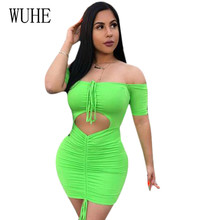WUHE Sexy Off Shoulder Tube Dress Summer Women Bodycon Drawstring Elastic Tight-fitting Hole Party Bandage Robe Femme