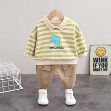 Cotton Toddler Tracksuit T-Shirt Pants Strips Spring Baby-Boys Kids Fashion Children