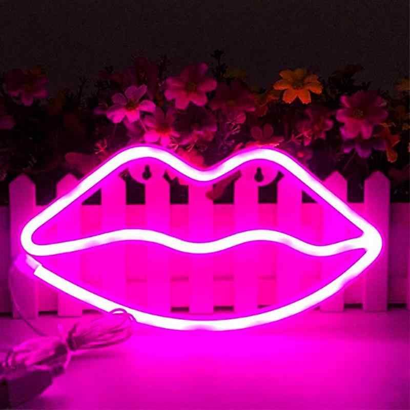 Led Neon Ký Đèn Ngủ Môi Đèn Trang Trí Treo Tường USB Ổ Cắm Trong Nhà Giáng Sinh Tiệc Cưới Trẻ Em Phòng Tình Yêu lãng Mạn