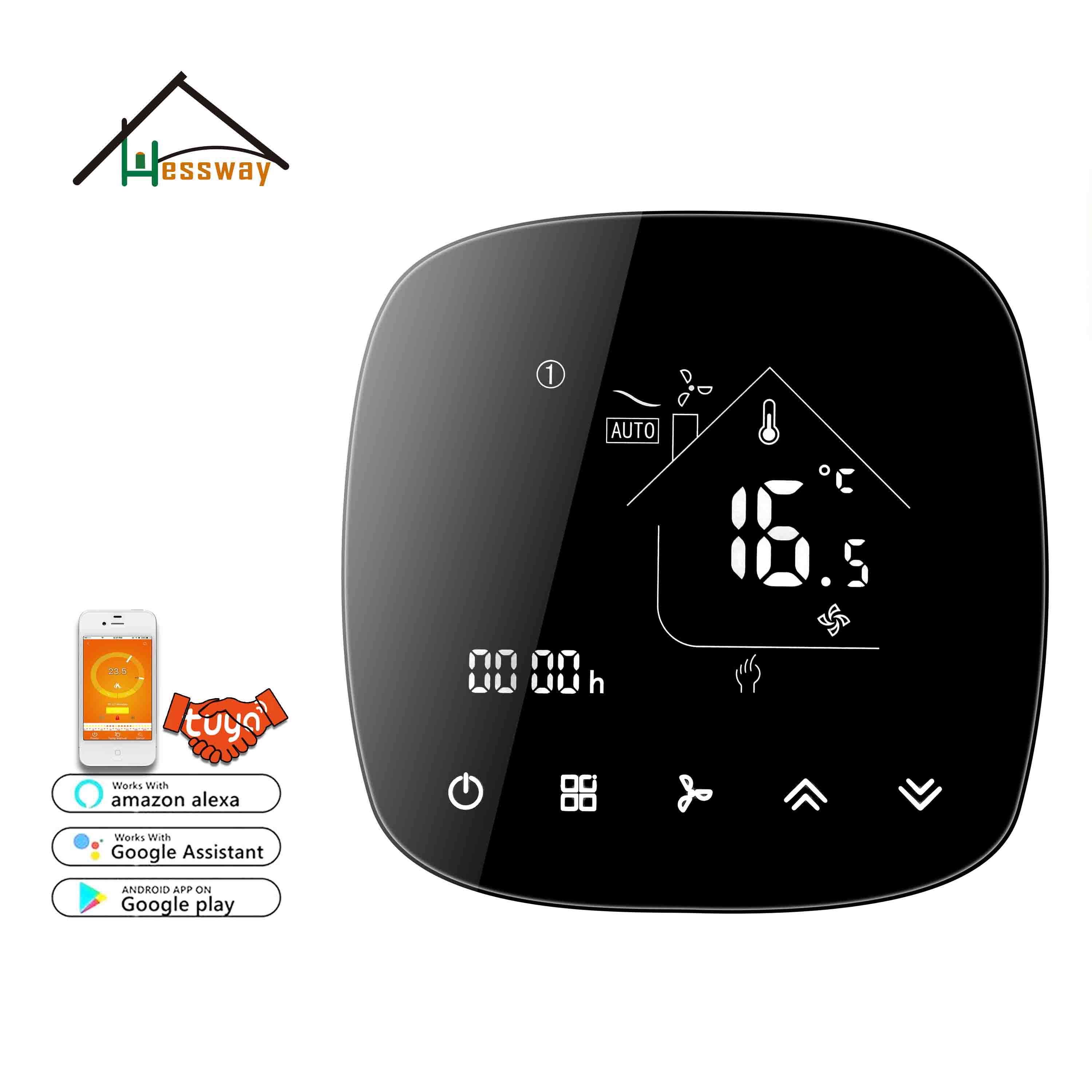 HESSWAY Fan Coil Thermostat WIFI Temperature Control Unit For Languages Synchronize App Mobile Phone