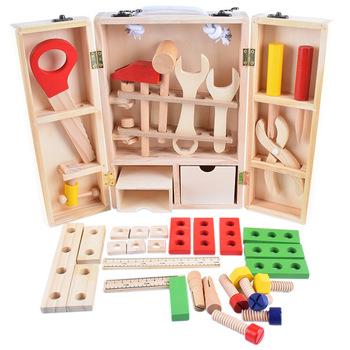 Drewniane DIY przenośne Puzzle symulacja przybornik dziecięca zabawka domowa zestaw chłopiec naprawa naprawa zabawka maluch dzieci zabawki chłopcy tanie i dobre opinie AOSST CN (pochodzenie) Drewna No fire 3 lat BOYS Narzędzia ogrodowe zabawki Model TT231 Wooden tool kit 29*21*8CM