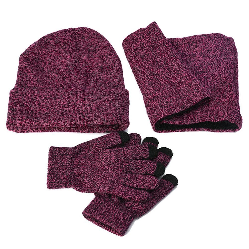 3 pièces mode unisexe tricoté hiver chapeau écharpe gants ensemble femmes épais écran tactile gant bonnets anneau écharpe femme pour les filles cadeau
