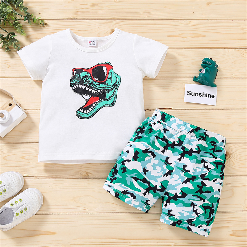 Little Boy's Short-sleeved Shorts Set Cartoon Dinosaur Round Neck Tops and Camouflage Short Pants Cloths