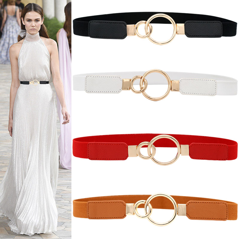 Lady Gold Double Circle Buckle Cummerbunds For Dress Thin Stretch Waistband Women Faux Leather Elastic Waist Belts Party Gifts