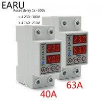 40A 63A 230V Din Rail Verstelbare Overspanning En Onder Voltage Beschermende Apparaat Protector Relais Over Huidige Bescherming Limiet