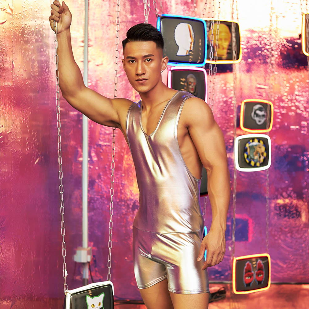 Superbody Sexy Men Bodysuit Body Imitation Leather Man Jumpsuit Wresting Undershirts Tight Shaper Gay Exotic Club Jumpsuit