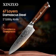 XINZUO 5 дюймовые кухонные ножи VG10 японский кухонный нож из дамасской стали ручка из палисандра Лидер продаж фруктовые кухонные ножи