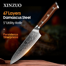 XINZUO 5 inch Utility Knives Japanese VG10 Damascus Steel Kitchen Knife Rosewood Handle Top Selling Fruit Cooking Knives