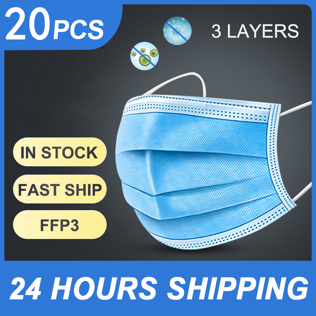 50PC kids men women Mask 3 Layer Filter Disposable flu FFP3 N99 N95 Safe Germ Protective Mouth Face Masks masque mascarillas