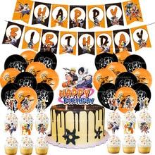 Naruto Sasuke Sakura Birthday Party Tool Props Straw Banner Cake parties Supplies Decoration Kakashi Boys Surprise Balloons