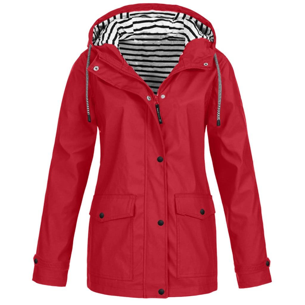 Ladies Solid Jacket Coat Fashion Waterproof Hooded Blouse Sports Sunscreen Rain Coat Outdoor Fashion Loose Coat Tops #LR2(China)