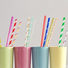 50pcs Fruit Stripe Drinking Paper Straws Party Birthday Event Supplies Gold Red Silver