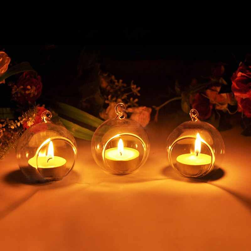 4 Size Hanging Candle Holder Crystal Glass Ball Candlestick Dinner Wedding Party Romantic Decor Home Transparent Decorations Bar