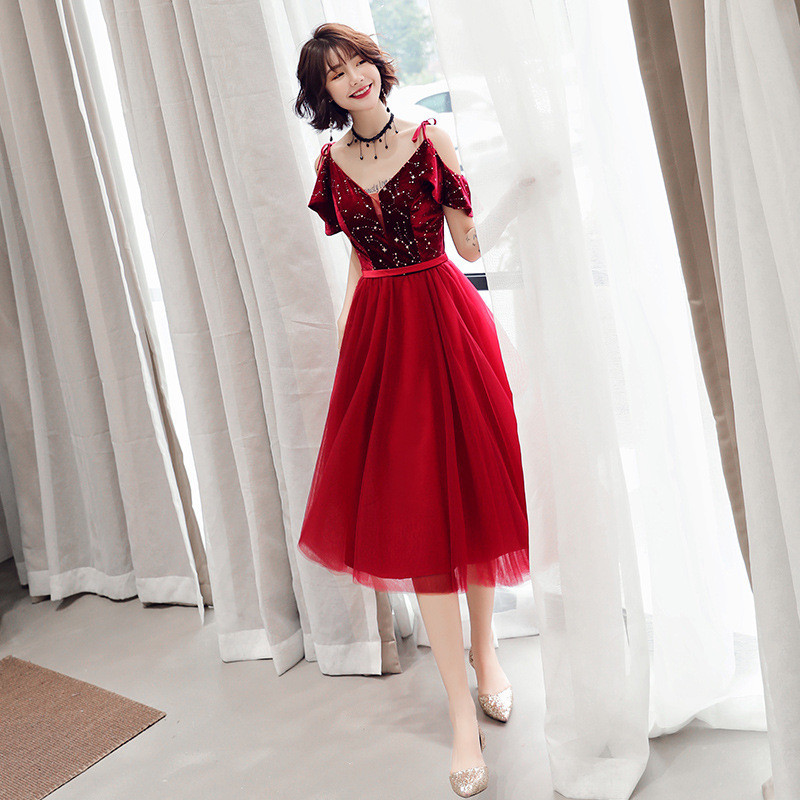 Vestido De Festa Gengli Toast To The Bride Small Man Usually Can Wear Autumn 2020 Wedding New Thin Medium Long Engagement Dress