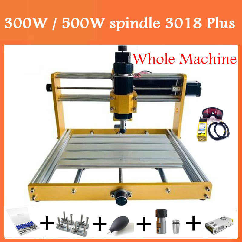CNC Upgrade Kit 300W DC Spindle Milling Motor for 3018-SE V2 CNC Router Engraving Machine with Integrated Control Box Speed Adjust Button