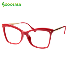 SOOLALA Rivet Cat Eye Reading Glasses Women Big Eyeglasses Frame Magnifying Presbyopia Glasses with Diopter 0.5 0.75 1.25 to 5.0