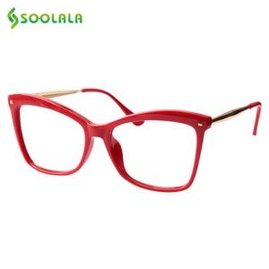 Image 1 - Очки с заклепками SOOLALA для чтения «кошачий глаз», женские большие очки в оправе, увеличительные очки для дальнозоркости с диоптриями 0,5 0,75 1,25 до 5,0