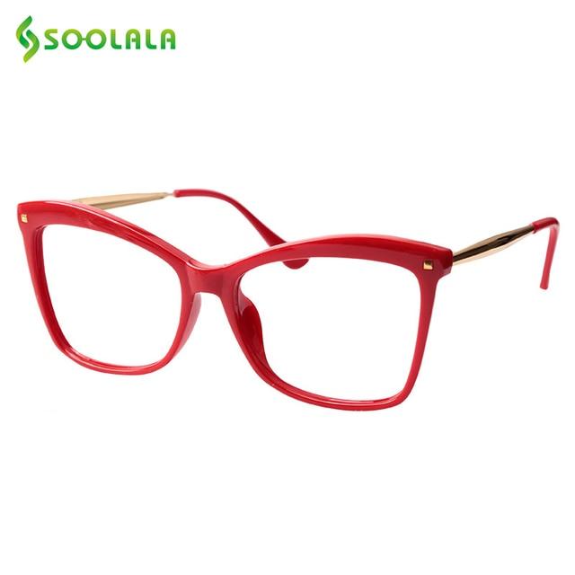Очки с заклепками SOOLALA для чтения «кошачий глаз», женские большие очки в оправе, увеличительные очки для дальнозоркости с диоптриями 0,5 0,75 1,25 до 5,0