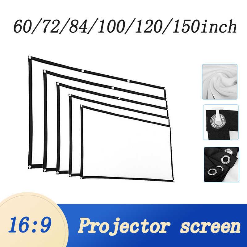 새로운 60/72/84/100/120/150 인치 3D HD 프로젝터 스크린 16:9 안티 주름 프로젝션 영화 스크린 홈 야외 팩 후크