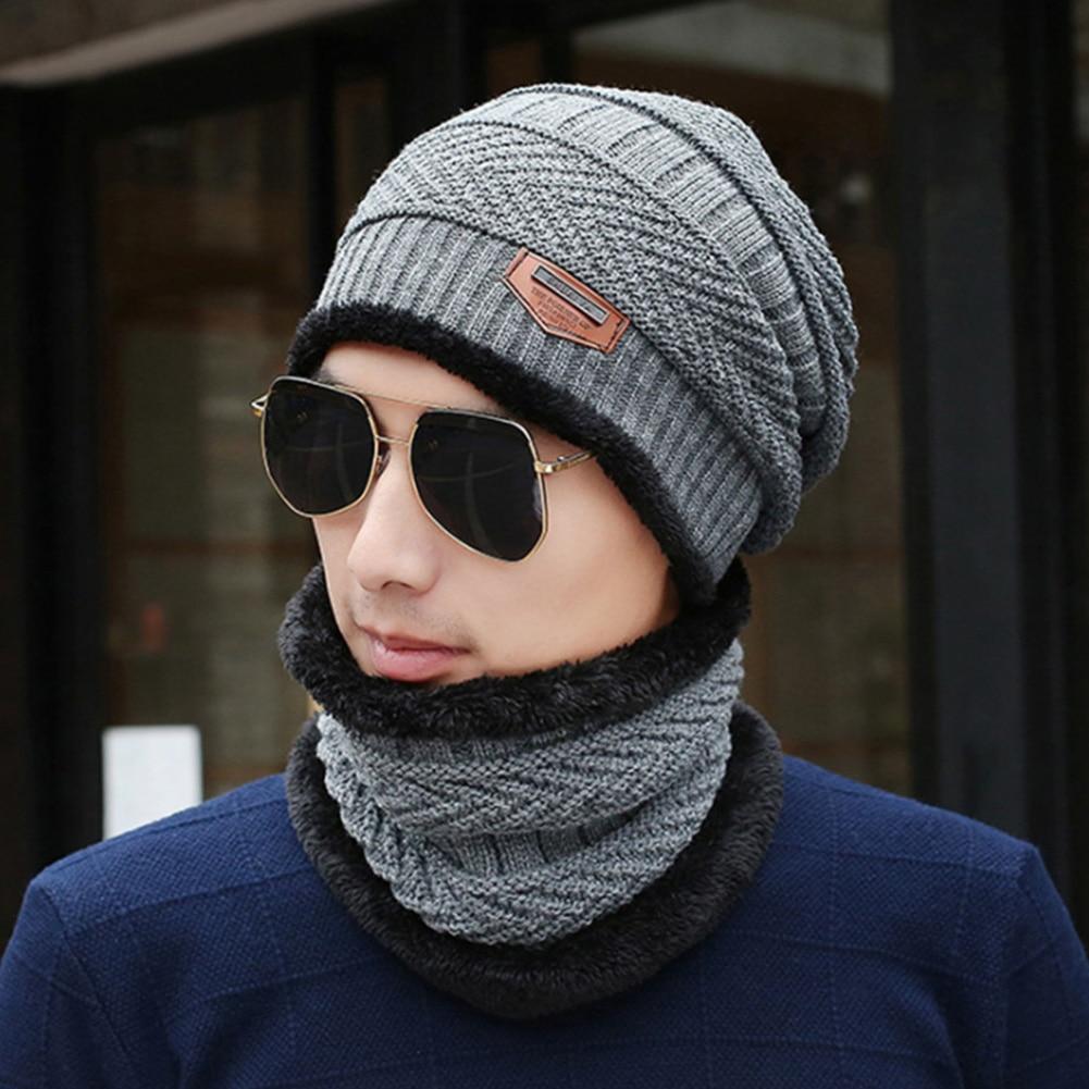 Men Autumn Winter Fashion Elastic Hat Scarf Set Windproof Knitting Wool Ski Outdoor Hiking Camping Soft Keep Warm Two Piece