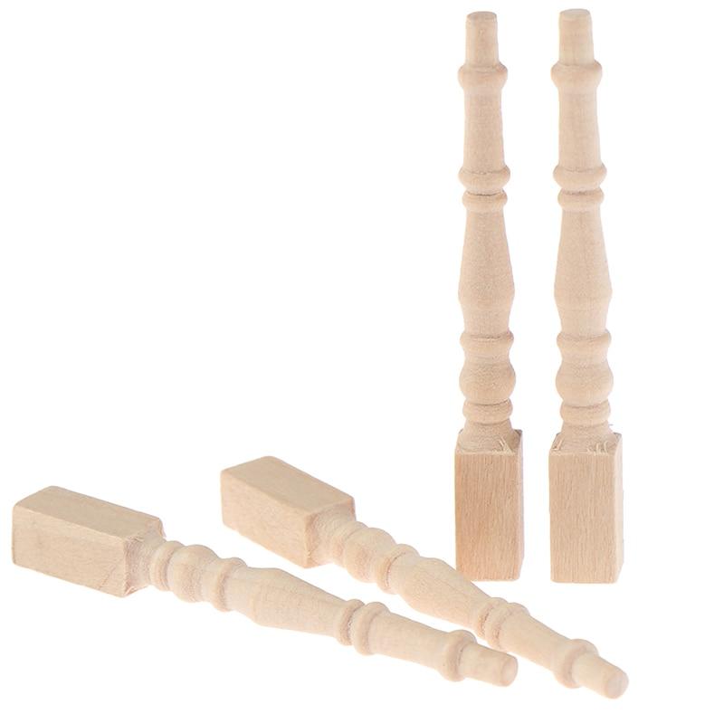 4Pcs/set Brain Game Kids Toys Dollhouse Miniature DIY Wooden 1:12  Furniture Leg Chair Table