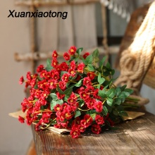 Xuanxiaotong 5pcs/lot Short Red Roses Flowers Artificial for Wedding Centerpieces Arrangement Decoration Silk