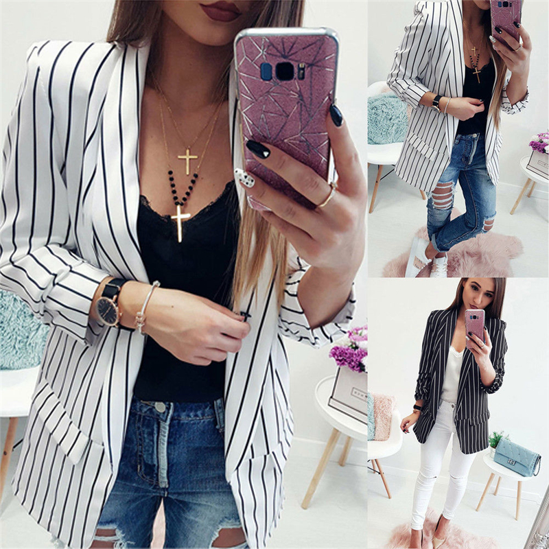 2020 Women Blazers For Office Sexy Striped Long Sleeve Loose Blazers And Jackets Casual Ladies Coats Outerwear Female Tops