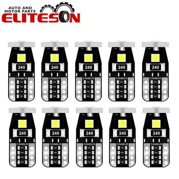 Eliteson 10 sztuk 3smd T10 LED światła do czytania na sufit kabiny samochodu Dashboard lampy 12V 3030 194 wewnętrznego drzwiowego skrzynka ogonowa żarówka Canbus bez błędu tanie i dobre opinie CN (pochodzenie) Tablicy rejestracyjnej światła montaż 12 v 1 4W Aluminum WHITE 0 023 Door Map Lights T10 3SMD 3030 120Lm